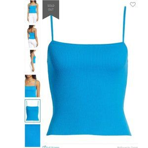 BP. Straight Up Ribbed Cotton Tank Top Blue Aster
